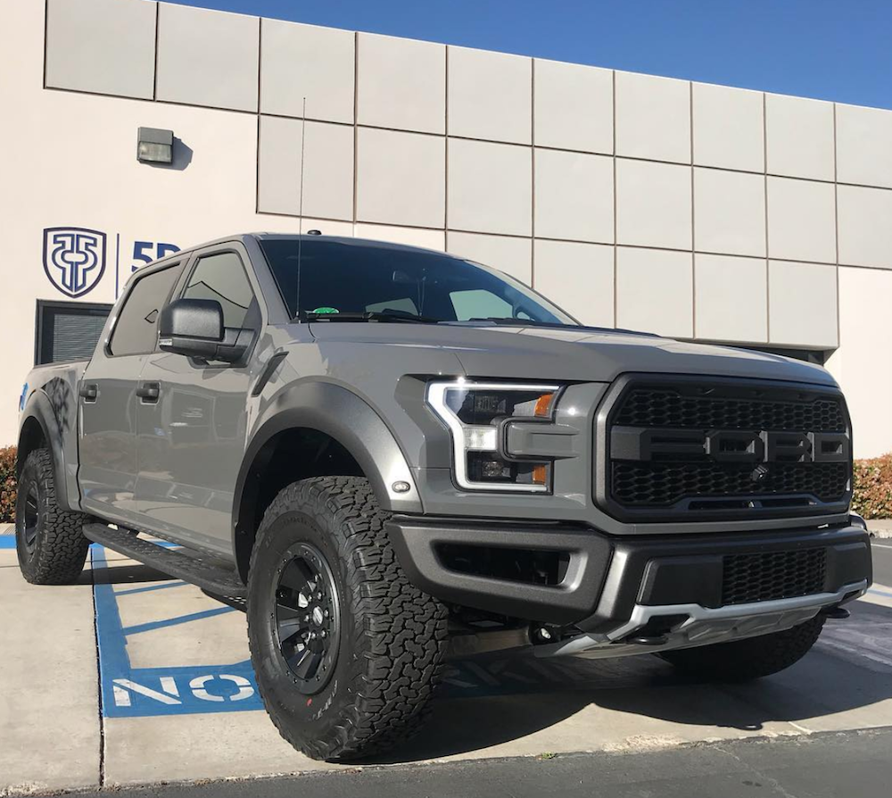 Grey Ford truck parked outside 5 Point Auto Spa in Carlsbad, CA after just receiving an Xpel Ultimate Plus Clear Bra Package.